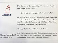 Danksagung zum Tode von Rainer Lengsfeld